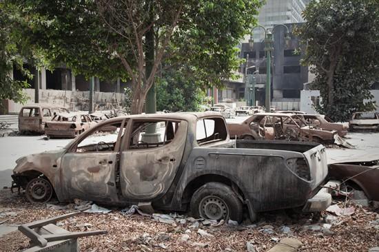 Burned-out Mubarak HQ