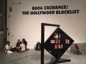 Book Exchange: the Hollywood Blacklist, Printed Matter LA Art Book Fair, 2015 powder coated steel, aluminum, wood and books.
